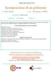 Scomposizione di un polinomio - Istituto Scolastico Comprensivo ...