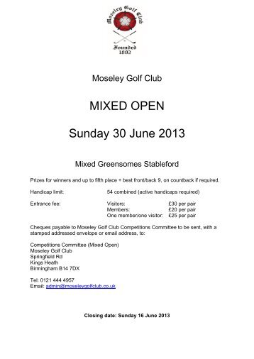 Mixed Open Greensomes - Moseley Golf Club