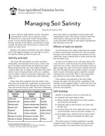 Managing Soil Salinity