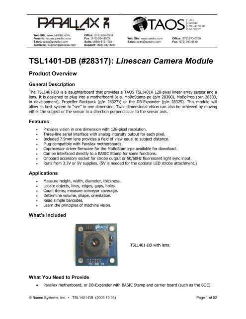 TSL1401-DB (#28317): Linescan Camera Module
