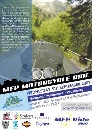 11e Jaarlijkse Rondrit met motorrijders - MEP Ride