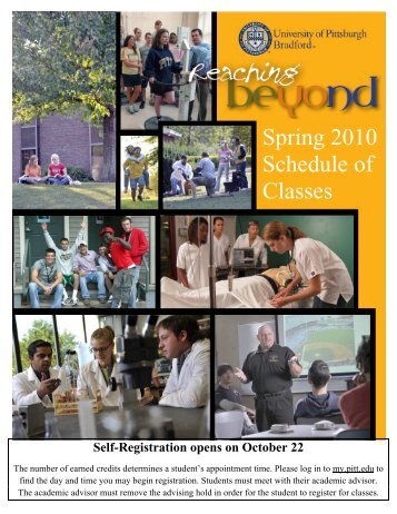 Spring 2010 Schedule of Classes - University of Pittsburgh Bradford