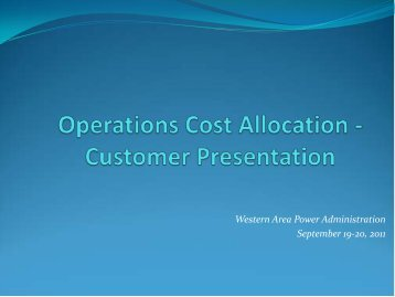 Cost Allocation Proposal - Western Area Power Administration