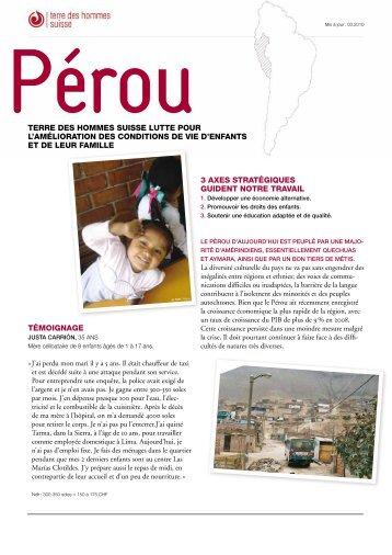 Fiche descriptive Pérou - Terre des Hommes Suisse