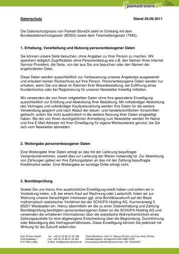 Datenschutz Stand 29.09.2011 Die ... - Parkett-Store24