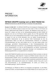 INFINUS GRUPPE beteiligt sich an MAS FINANZ AG