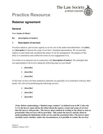 Practice Resource Retainer Agreement  Family Law  The Law