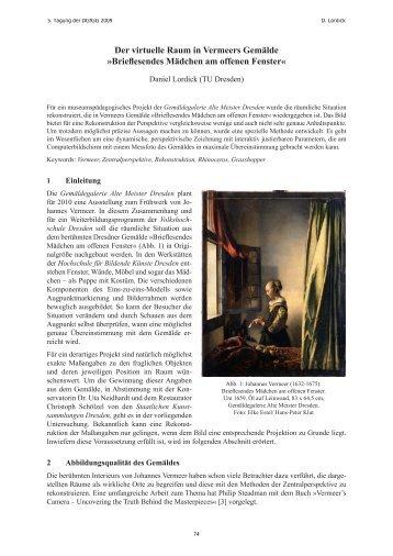 Der virtuelle Raum in Vermeers Gemälde »Brieflesendes ... - M10