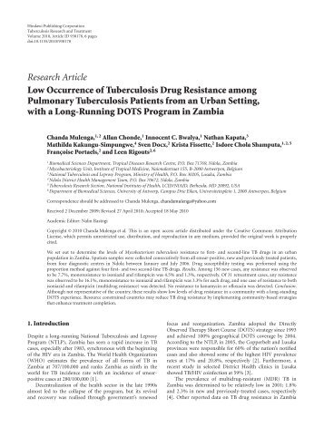 Low Occurrence of Tuberculosis Drug Resistance among ...