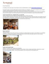 Group Dining Options For additional information please contact ...
