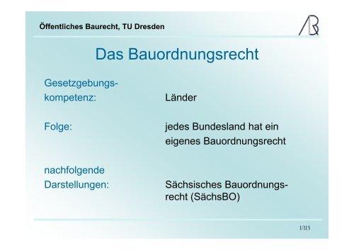 Öffentliches Baurecht, TU Dresden