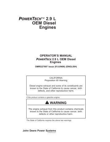 POWERTECH™ 2.9 L OEM Diesel Engines - John Deere Industrial ...
