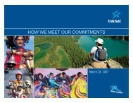How we meet our commitments Speech delivered by ... - Transat, Inc.