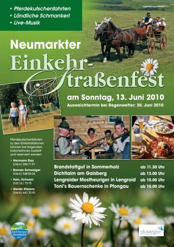 Programm Neumarkter Einkehr-Straßenfest - mei-flachgau.at