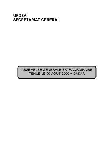 UPDEA SECRETARIAT GENERAL - association des societes d ...