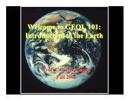 Introduction - Course Overview - Tectonics & Geophysics Lab