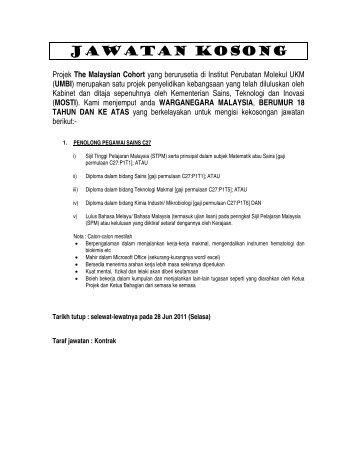 jawatan kosong - Sistem e-Warga - Universiti Kebangsaan Malaysia