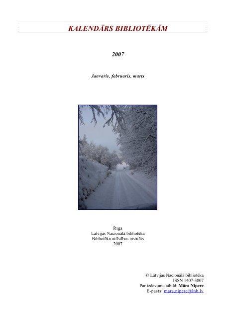 kalendārs bibliotēkām 2007 - Academia