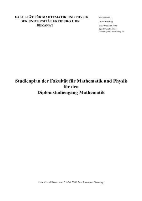 Studienplan der Fakultät für Mathematik und Physik für den ...