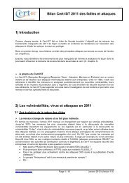 Bilan Cert-IST 2011 des failles et attaques 1) Introduction 2) Les ...