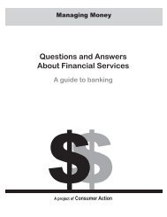 Questions and Answers About Financial Services - Consumer Action