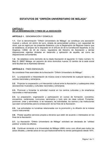 """ESTATUTOS DE """"ORFEÓN UNIVERSITARIO DE MÁLAGA"""""""