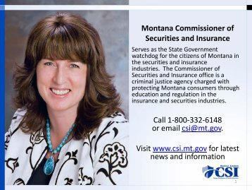 Montana Commissioner of Securities and Insurance Call 1-800-332 ...
