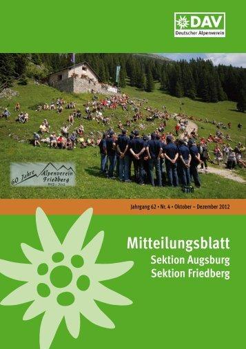 Mitteilungsblatt 2012/4 (PDF, 8,1 MB) - Alpenverein Augsburg