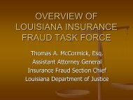 OVERVIEW OF LOUISIANA INSURANCE FRAUD TASK FORCE
