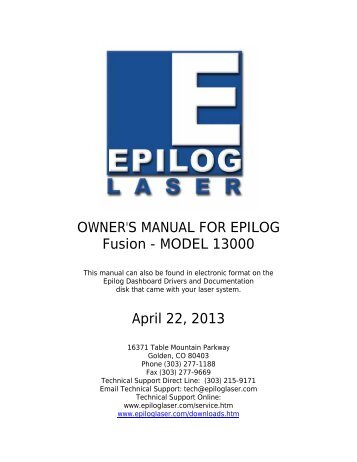 OWNER'S MANUAL FOR EPILOG Fusion - MODEL 13000 April 22 ...