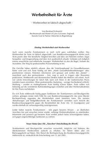 Werbefreiheit für Ärzte Werbefreiheit für Ärzte - Rechtsanwälte Graf ...
