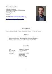 1 Prof. Dr. Burkhard Heer University of Augsburg Department ... - WiWi