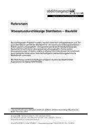 Referenzen Wasserundurchlässige Stahlbeton – Bauteile