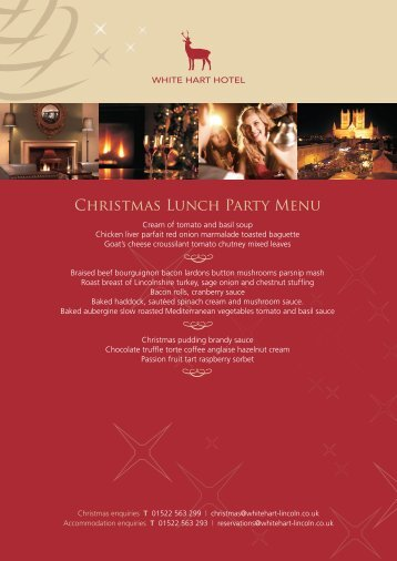 Christmas Lunch Party Menu - White Hart Hotel