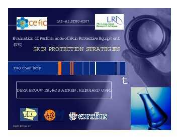 Dermal Exposure & Protection in the Workplace - Cefic LRI