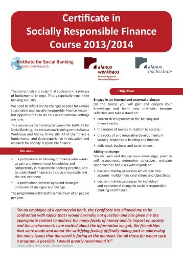 Certificate in Socially Responsible Finance Course 2013/2014