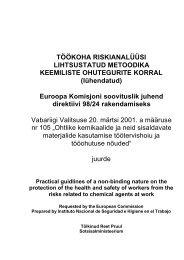 TÖÖKOHA RISKIANALÜÜS kemikaalid - European Agency for ...