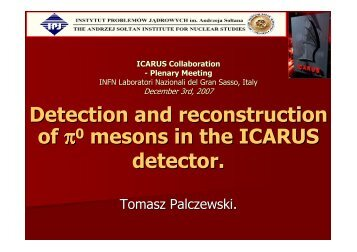 Detection and reconstruction of π0 mesons in the ICARUS detector.