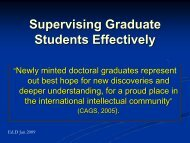 Supervising Graduate Students Effectively - Faculty of Graduate ...