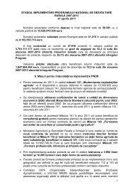 Stadiul implementării Programului Naţional de Dezvoltare ... - MADR