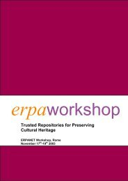 Trusted Repositories for Preserving Cultural Heritage - Erpanet