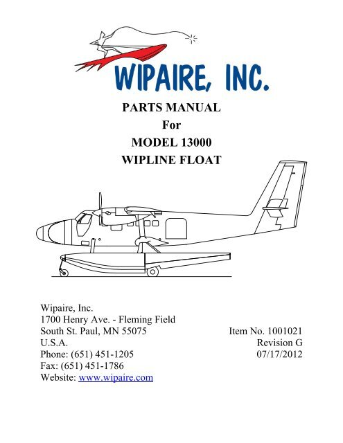 PARTS MANUAL For MODEL 13000 WIPLINE FLOAT - Wipaire Inc