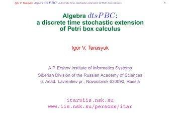 Algebra dtsPBC: a discrete time stochastic extension of Petri box ...