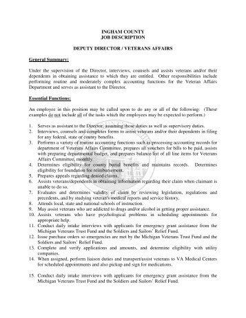 Deputy Executive Director Job Description - Transportation Agency ...