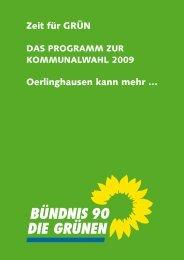 Wahlprogramm 2009 - Bündnis 90/Die Grünen Oerlinghausen