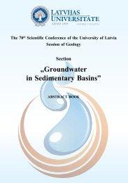 "Section ""Groundwater in Sedimentary Basins"" - Latvijas Universitāte"