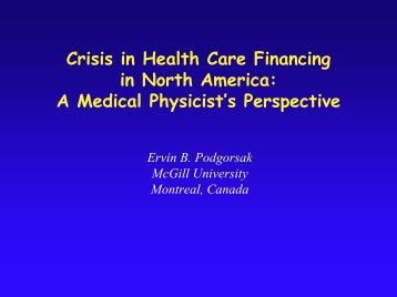 Crisis in Health Care Financing in North America - McGill Medical ...