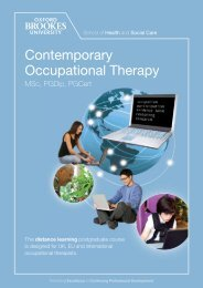 Contemporary Occupational Therapy - Faculty of Health and Life ...
