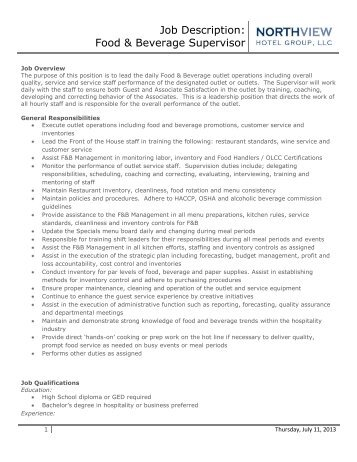 food and beverage director job description sumptuous design