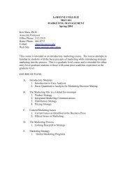 LeMoyne College - Marketing Management Syllabus - Oswego